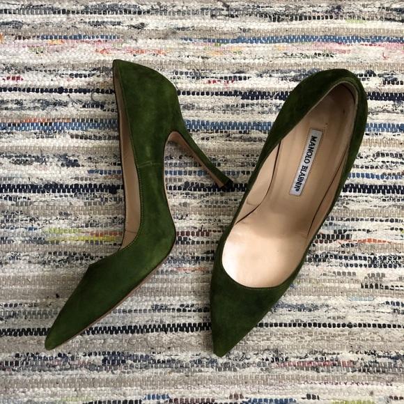 cd00e179898f1 Manolo Blahnik Shoes | Final Sale Bb Suede Pump In Green | Poshmark